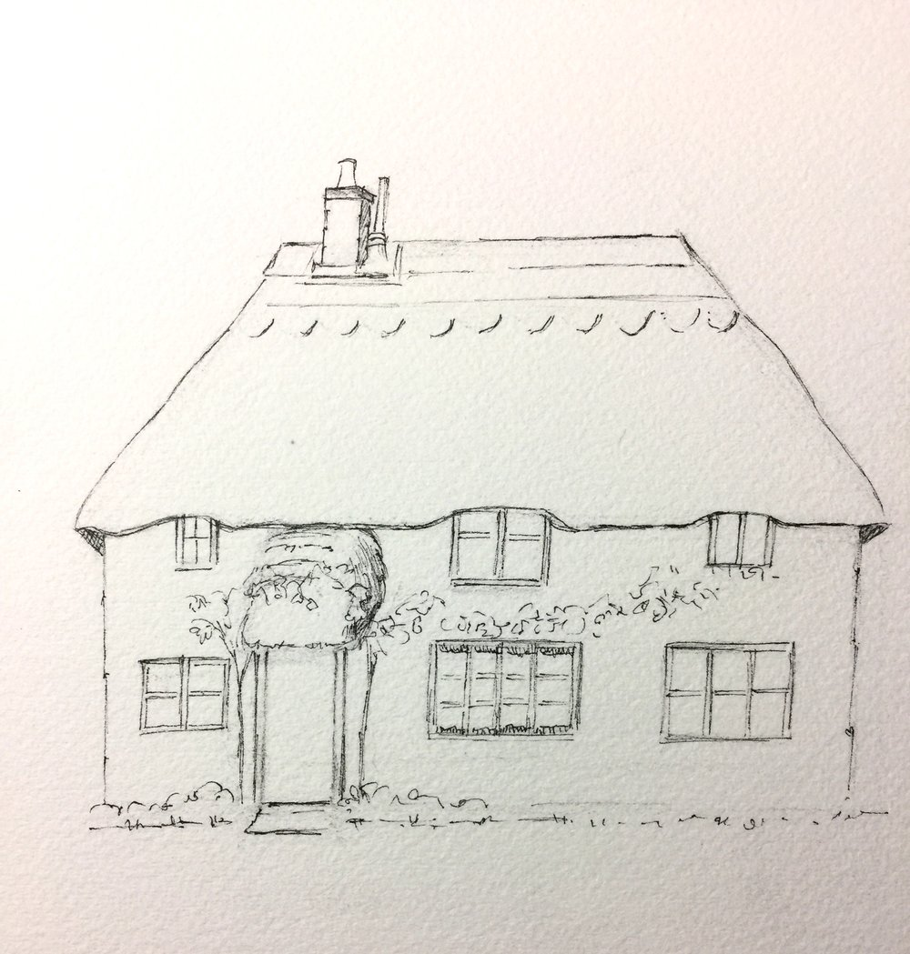 Here is an English thatched cottage for you to print out and customize with your choice of paints and color.