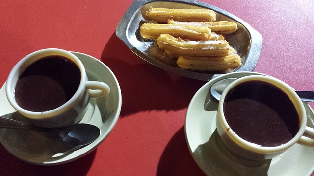 Churros and chocolate, a tasty Spanish snack!