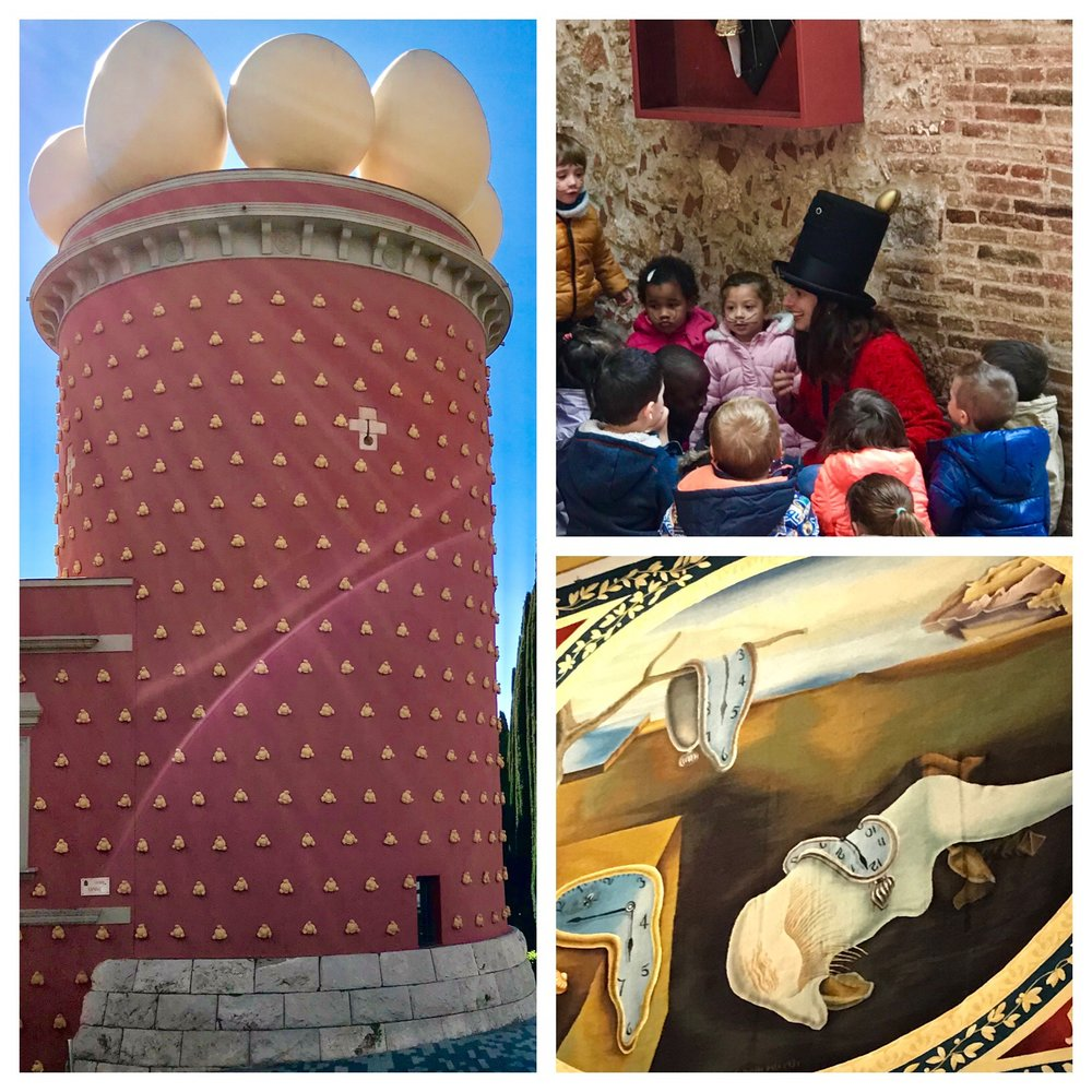 The building with the eggs on top is the museum. The children were mezmerized by the lady in the hat who drew Dali style moustaches on them. The melting watch painting is hung over Dali's mock up of his dream bedroom.