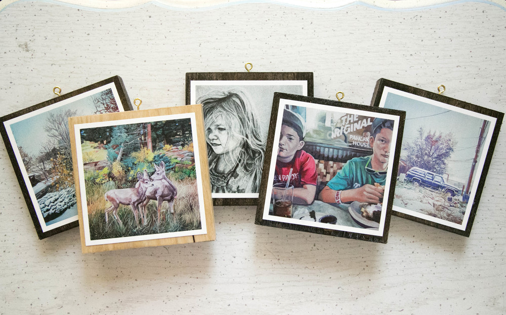 Custom Art Prints mounted on 6x6 Stained Pine with Gold Mounting Hook