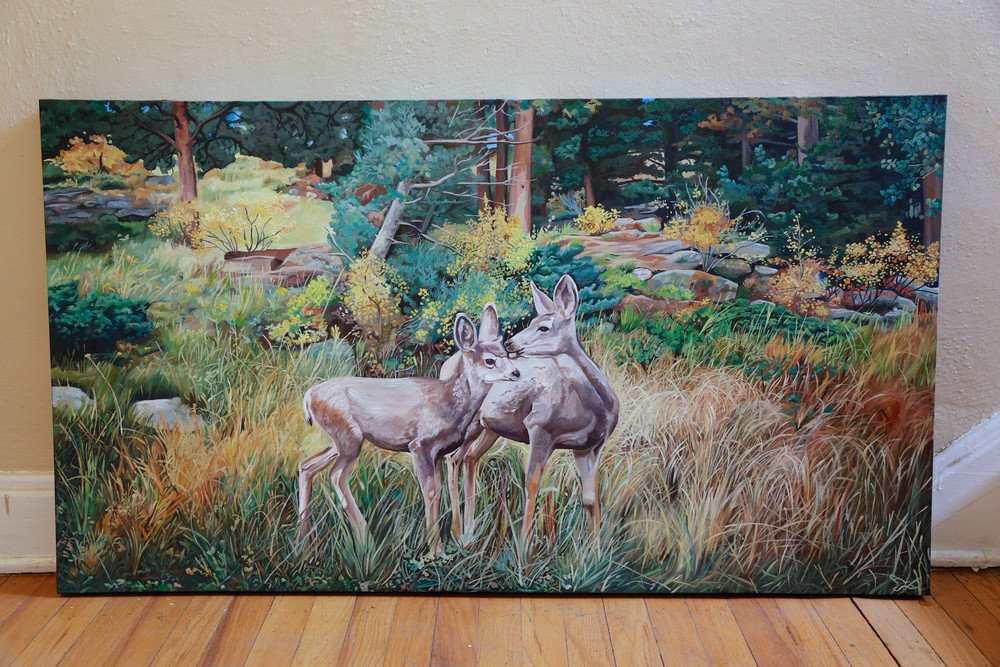 Deer at Rocky Mountain National Park | 26x48 | oil on canvas
