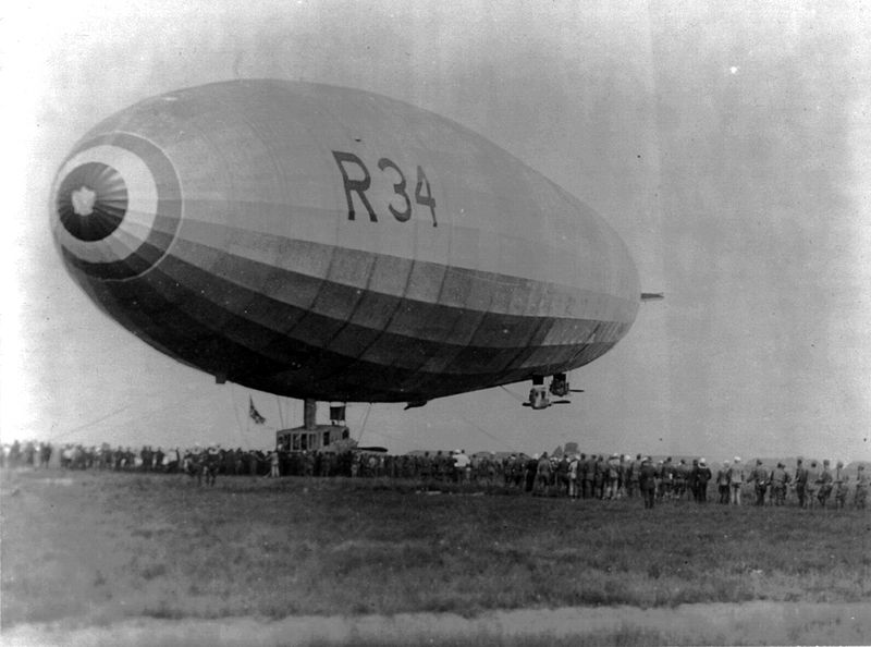 The R34 airship, landing in the US after the first ever east-to-west crossing, followed shortly after by the first non-stop west-to-east crossing which didn't land in a bog in Ireland.