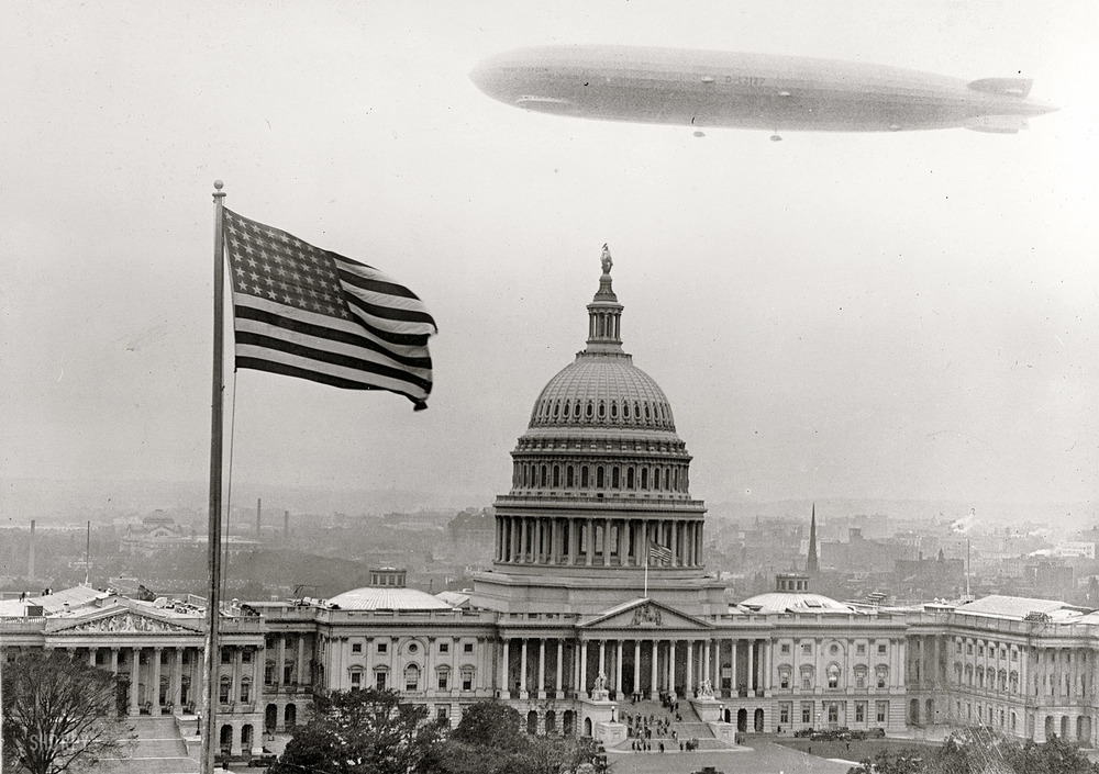 The Graf Zeppelin, greatest of all the rigid airships, making just one of several trips to the USA.