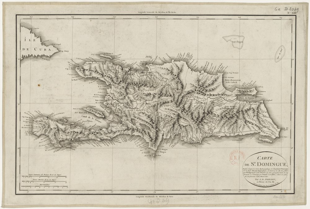 1803 Map of St. Domingue (present-day Haiti and Dominican Republic) by J.B. Poirson, engraved by Tardieu the Elder (from the Bibliothèque Nationale de France at gallica.com)