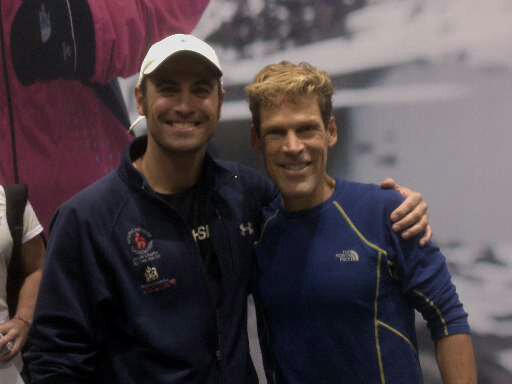 Coach K getting some advice from Lean Dean Karnazes at the Chicago Marathon