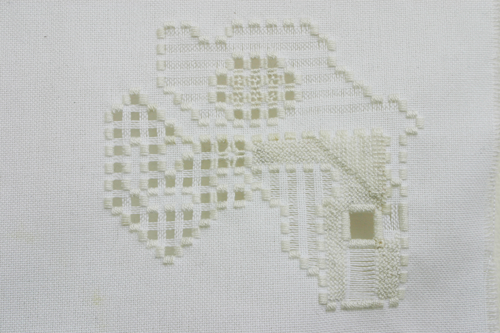 "2.    (detail.) Embroidery on cotton. 6""x8.25"". 2011"