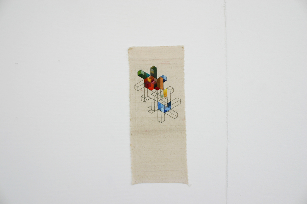 "Untitled Embroidery on canvas. 7.5""x23"". 2011"