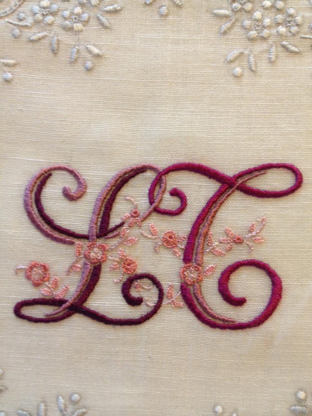 "Monogram, ""LT""   (detail.) Silk embroidery on vintage handkerchief. 10""x10"". 2013"