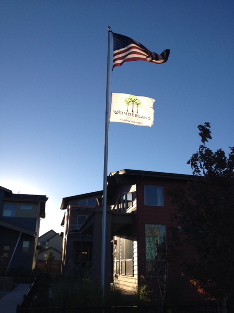 Flag in front of a model home