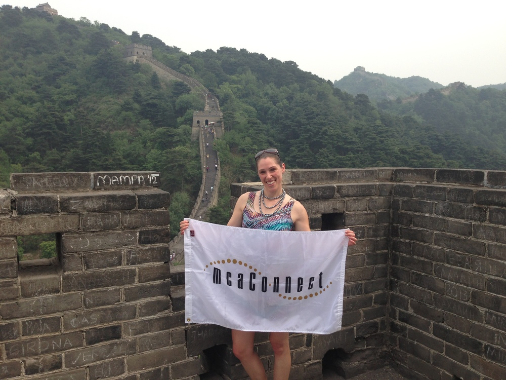 Corporate Logo Flag at the Great Wall of China