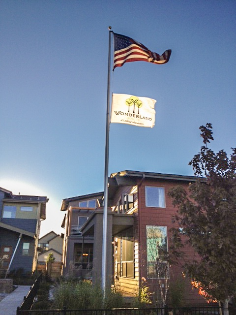 Homebuilder flagpole and flags