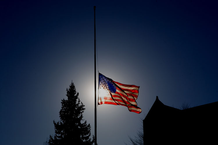 Flag flying half-staff