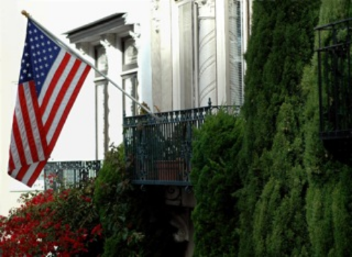 US Flag on Porch