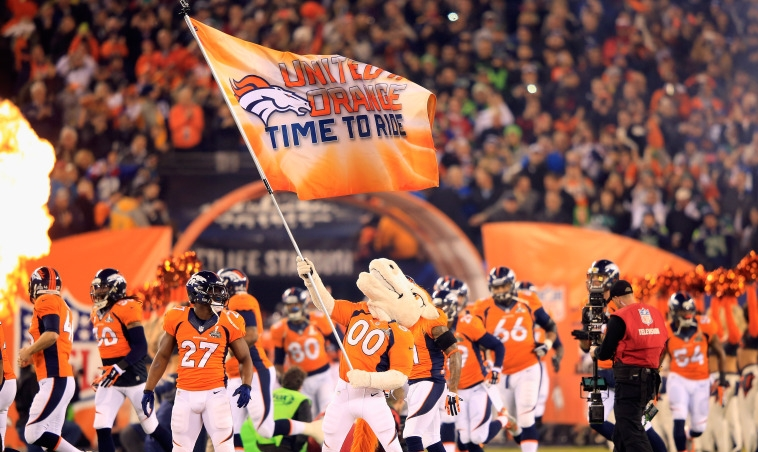 Denver Broncos mascot Miles waves their flag at Super Bowl XLVIII  February, 2014