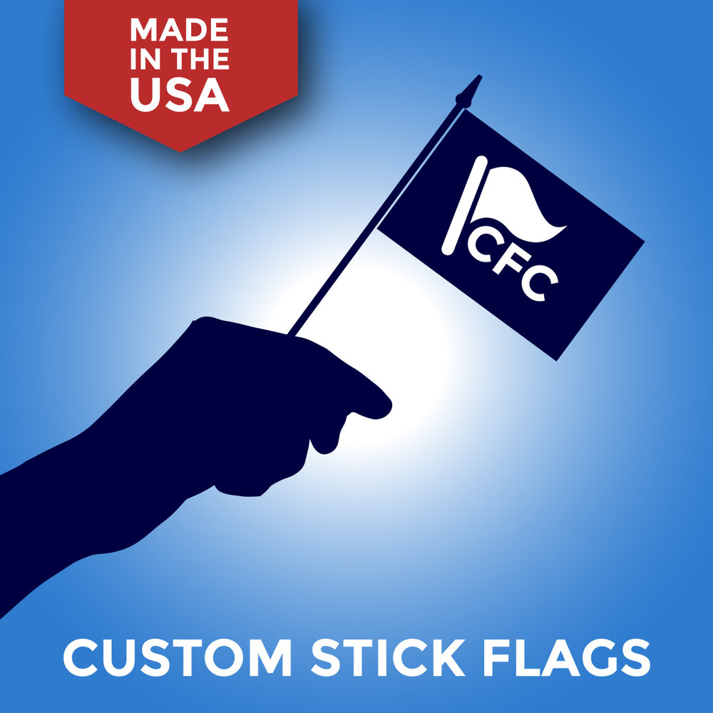 Custom Mounted Stick Flags