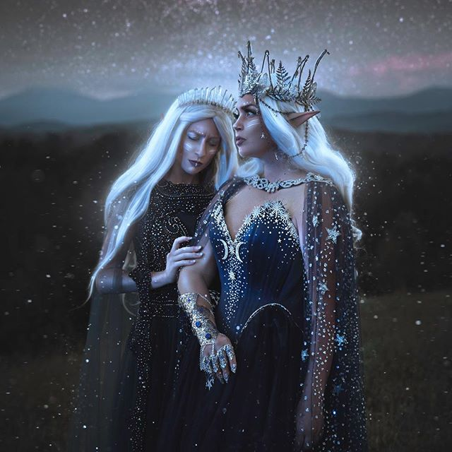 - Celestial Sisters -  I wanted to write out this grand tale about this series of images, but sadly i was not given the gift of writing. So maybe you can come up with something that is spoken to you in this image ✨✨ . Models: @frecklesfairychest & I  Starry Dress & Cape: @alicecorsets  My Dress: EBay 😋 Crystal Crown: @crystaleclipsecrowns  MUA, Crown, Cuff: Freckles Fairy Chest . Also want to give a shout out to my mom for taking this for me while i was otherwise occupied 😉