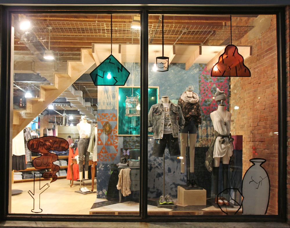 Windows display created for Red Bank Urban Outfitters location