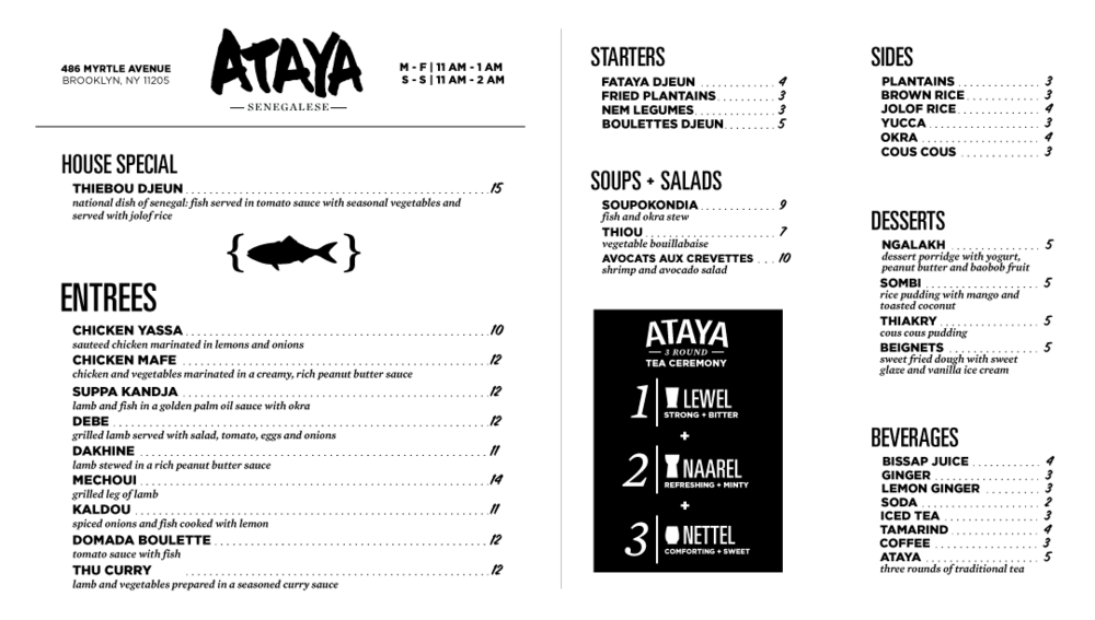 Ataya full menu