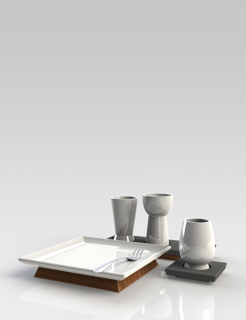 Rendering of dessert setting and tea set