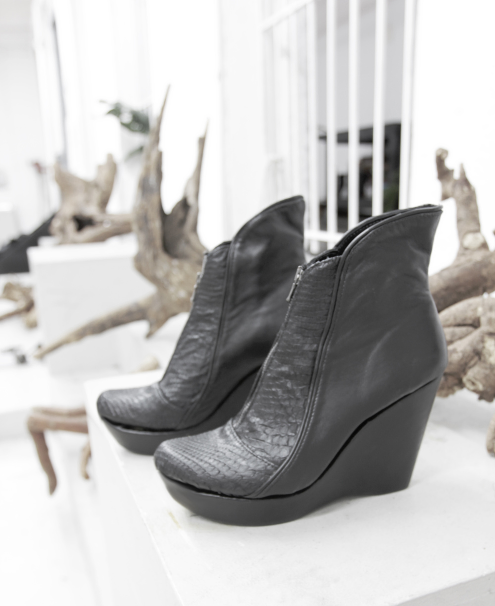 Hand-sewn snakeskin and leather wedges created for use as an alternative for stilt-walking