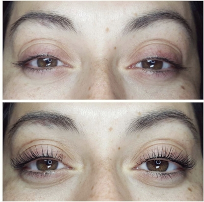 a2cd0a6c56b Here's a before and after of a La Belle client who chose lash lift with lash  tint ($125 total). Gorgeous, right?