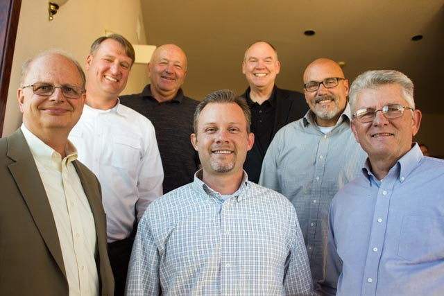From middle front counterclockwise: Phil Long, Scott Dickson, Bob Smith, Barry Fluth, Jeff Ellis, Rick Thompson, Ted Long.