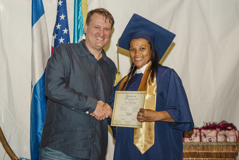 Bob Smith, Global Action's Board Chairman, with Janna at her recent graduation