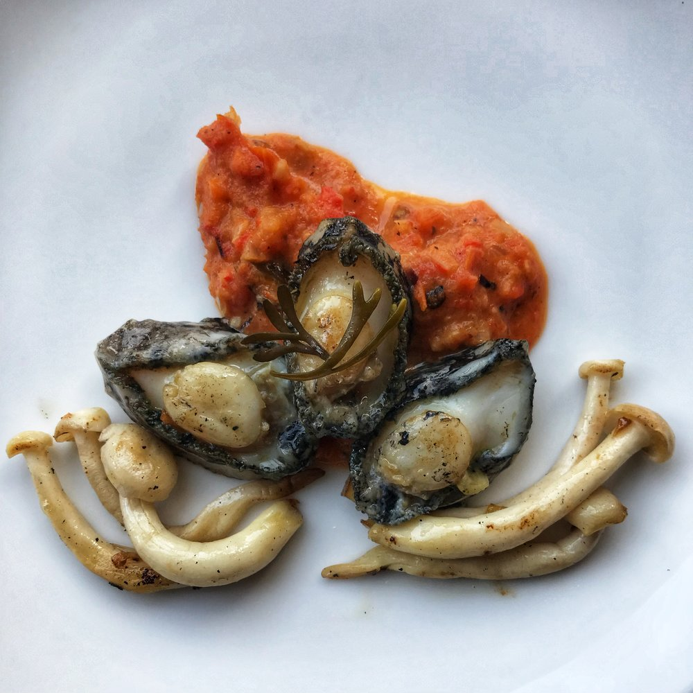 Pan Fried Abalone - with sautéed mushrooms and a roasted red pepper and seaweed salsa