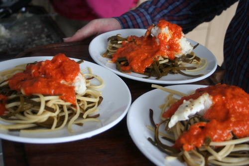 Sea Spaghetti - and baked monkfish with a roasted red pepper sauce