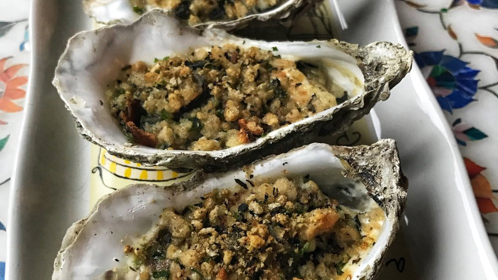 Baked Oysters with a Sea Grass, Mint and Marjoram Bread Crumb