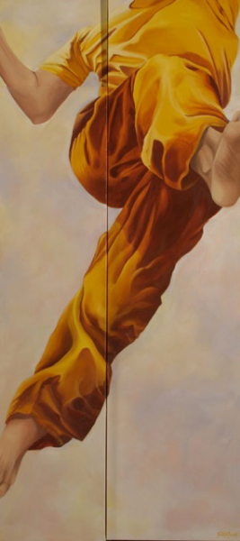 "Maria 60"" x 28"" Oil on Multi level canvas"