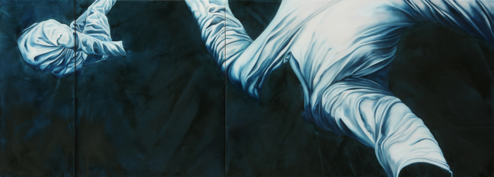 "Two in Space  24"" x 66""  Oil on Multi level canvas"
