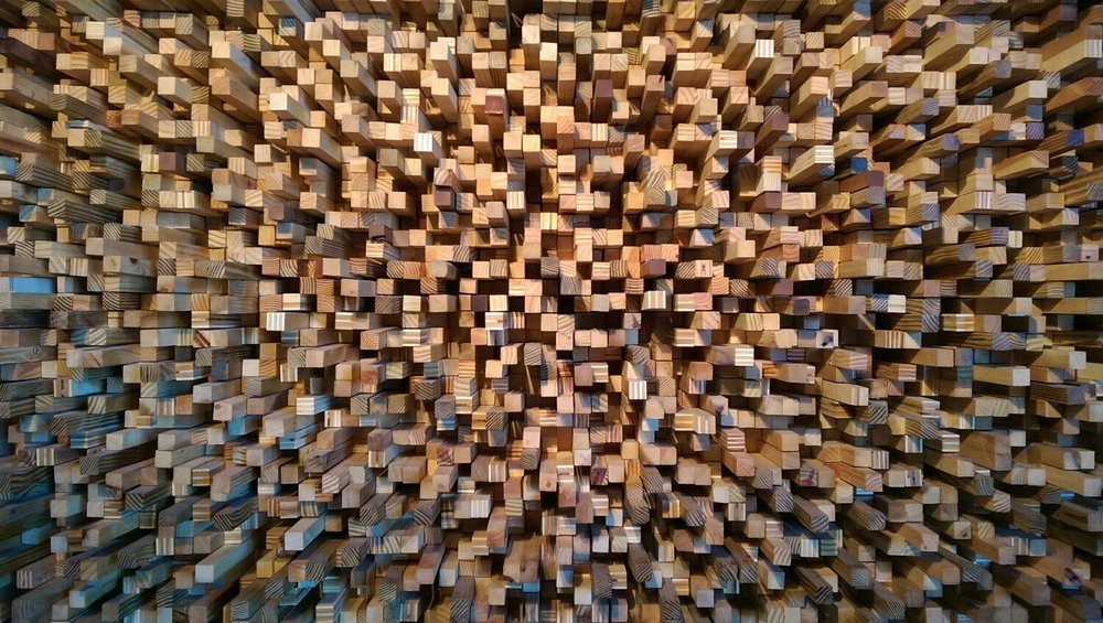 Beautiful diffuser wall in the engineering room at Rose Studios.