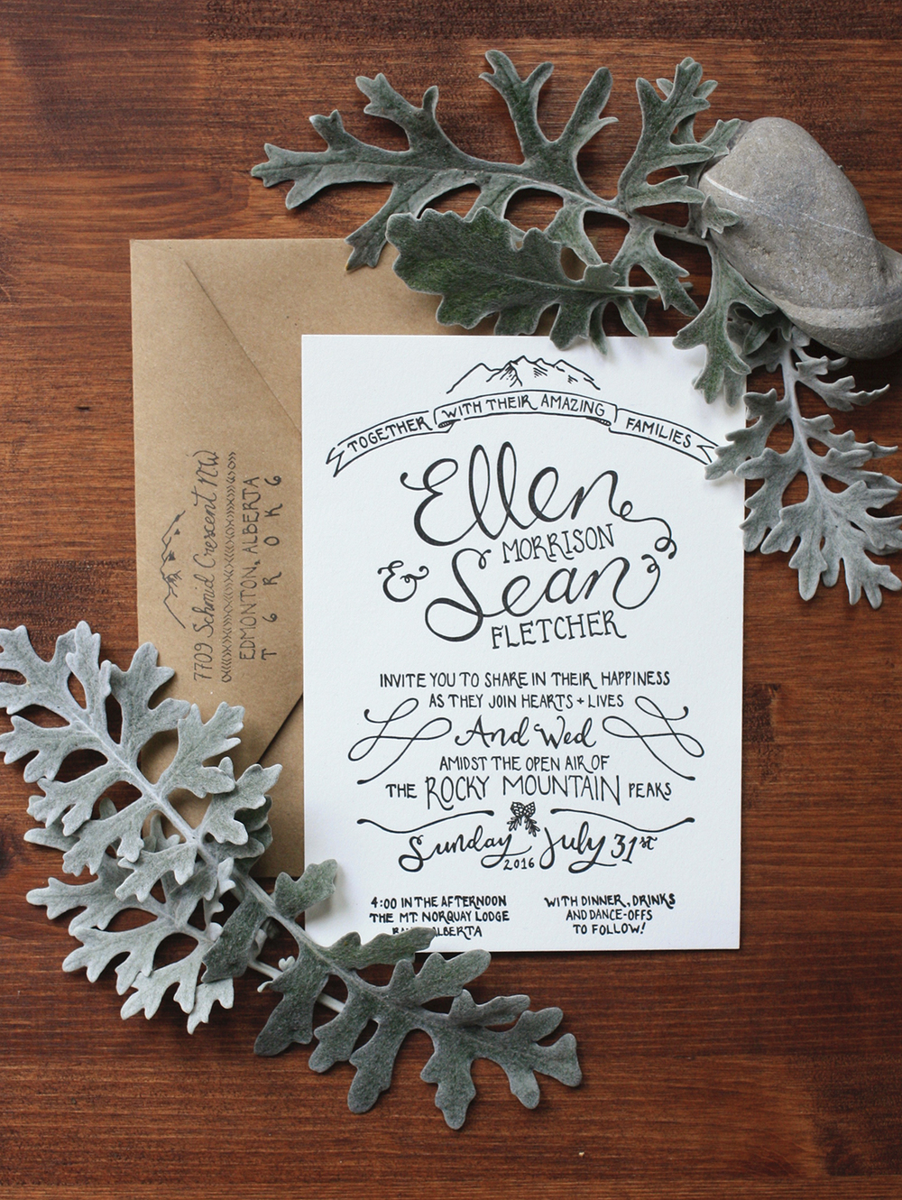 Simple+Rustic+Handlettered+Wedding+Invitations+|+Thistle+and+Dew