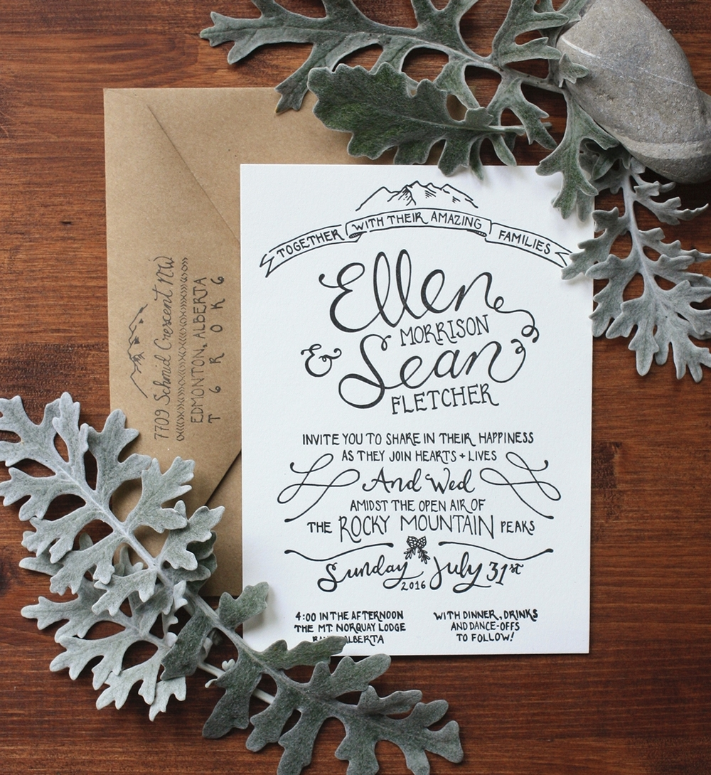 Ellen + Sean\'s Simple Rustic Hand-lettered Wedding Suite — Thistle & Dew