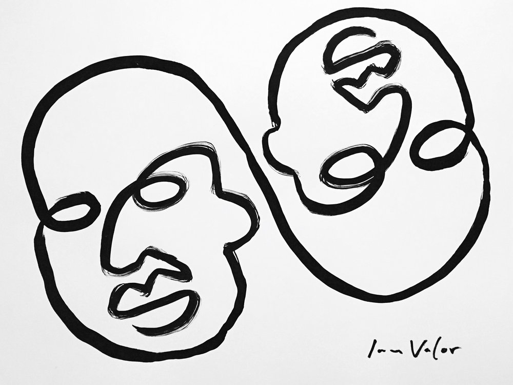 Two Heads With A Single Line