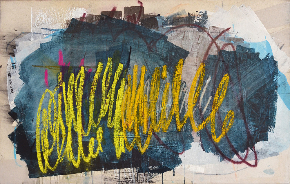 The Things You Told Me Today #1, mixed media on stretched canvas, 28'' x 44'' by: Heather Day
