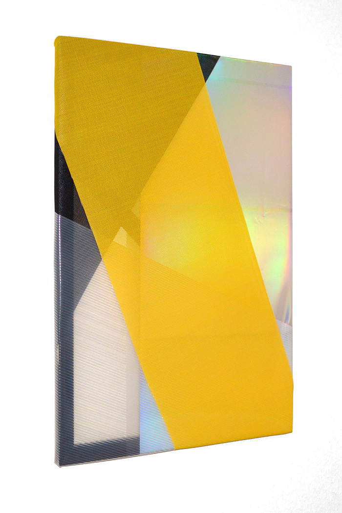 clear black yellow 2014 plastic screening, clear plastic, iridescent plastic, stain on wood stretcher bars 36 x 24 in.