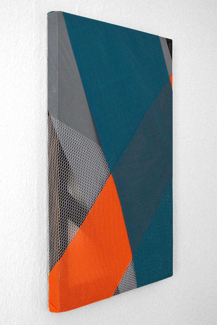 teal/orange 2014 plastic screening, reflective fabric, aluminum mesh, stain on wood stretcher bars 28 x 18 in.