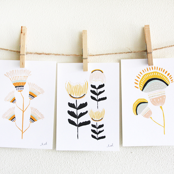 Desert Flowers, set of three 5'' x 7'' prints by: Leah Duncan