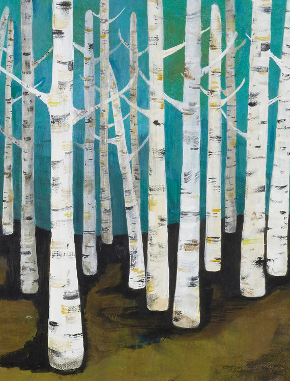 Aqua Birch Forest, Acrylic on canvas, 2008 for Chronicle Books. By: Lisa Congdon