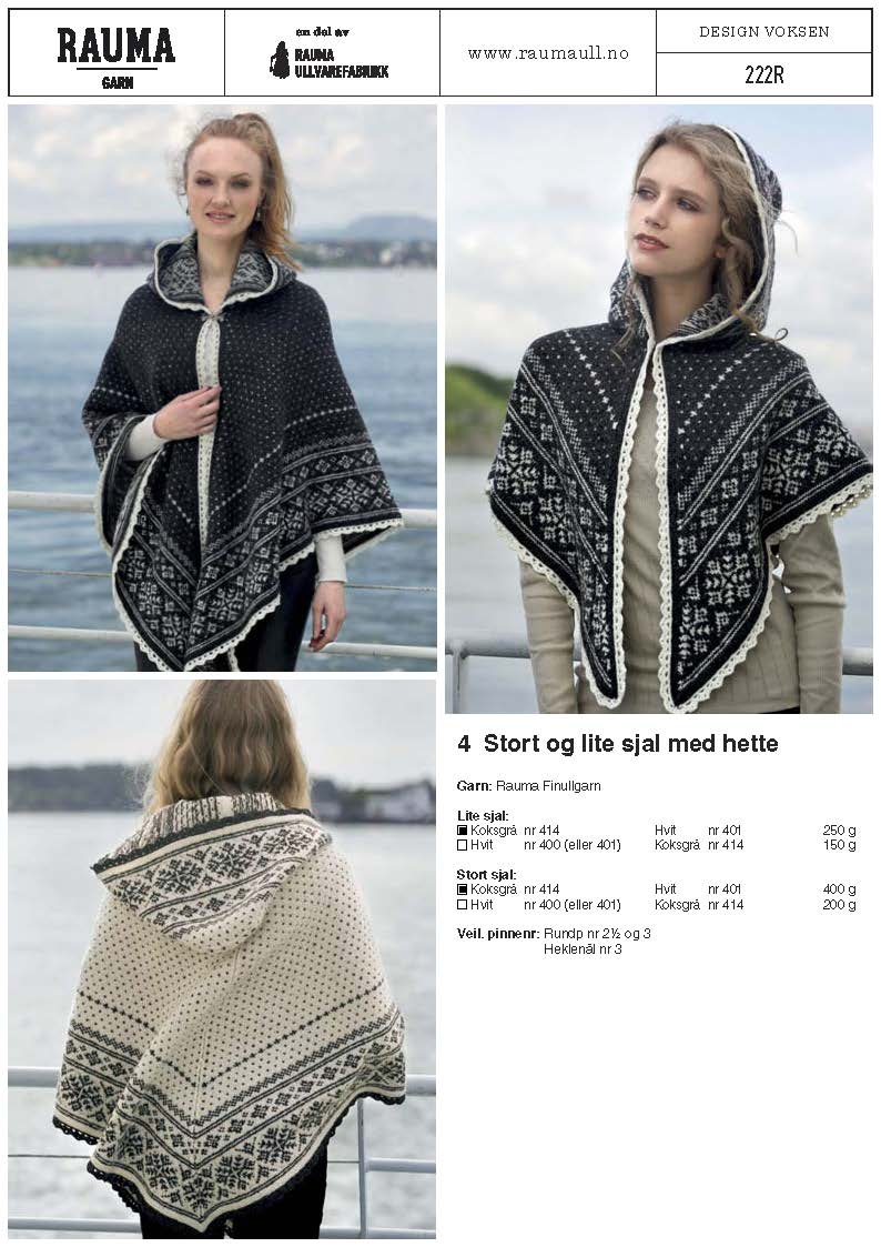 Rauma 222r Nordic Cape Pattern Norskein Knitting Supply