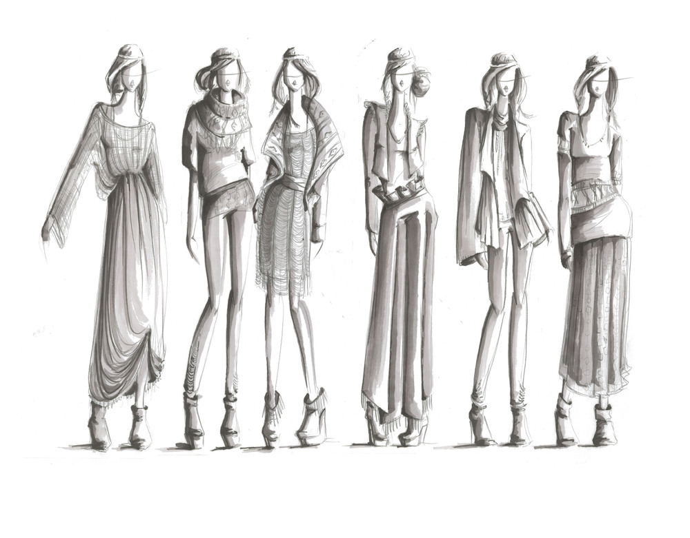 Black and white high fashion sketches