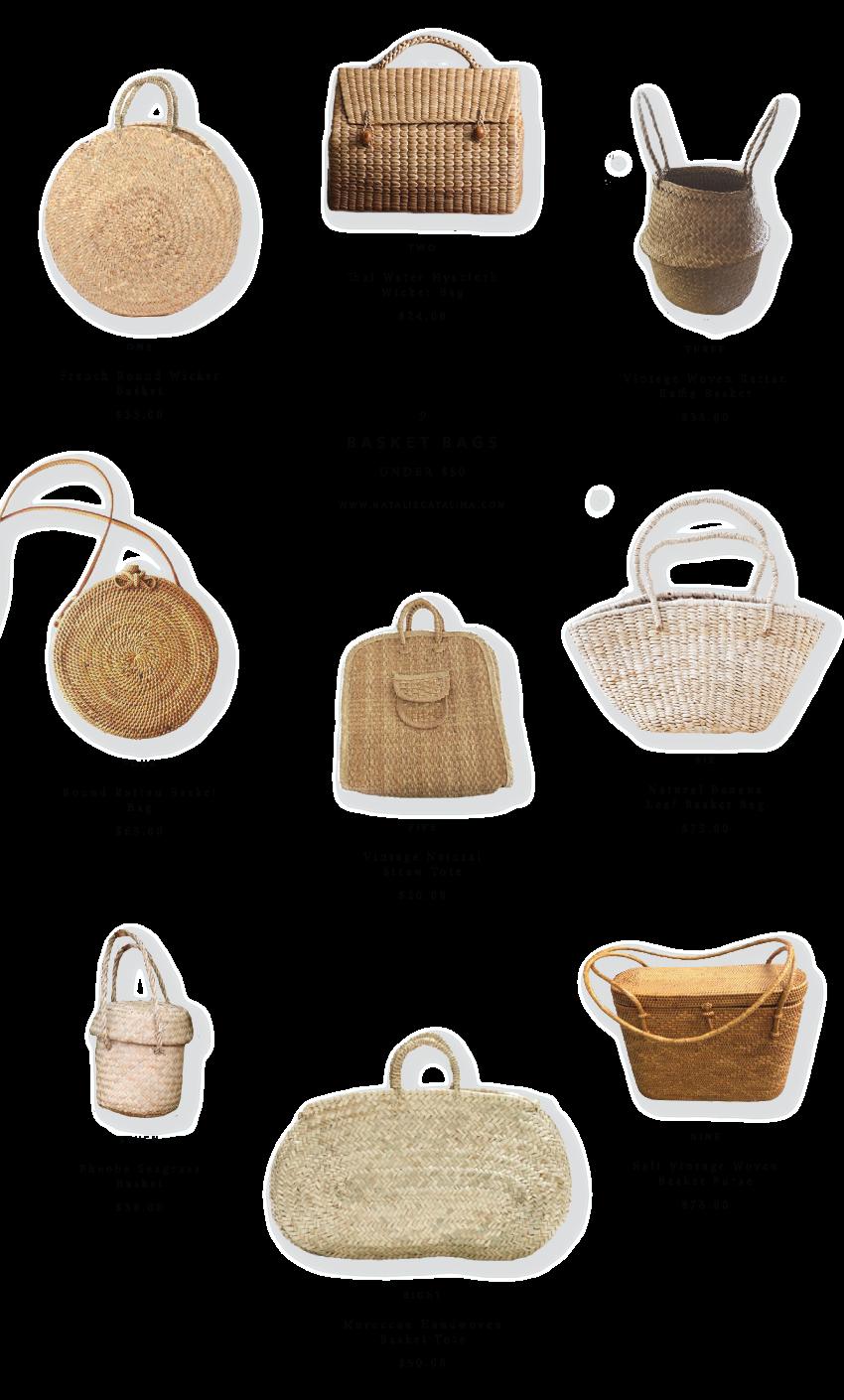 Nine Basket Bags Under $80.00 on Natalie Catalina