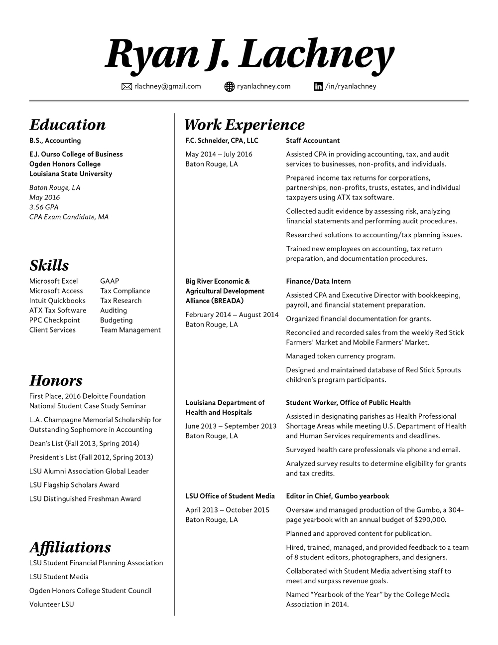 accounting resume cpa candidate ryan lachney raesumae last updated july