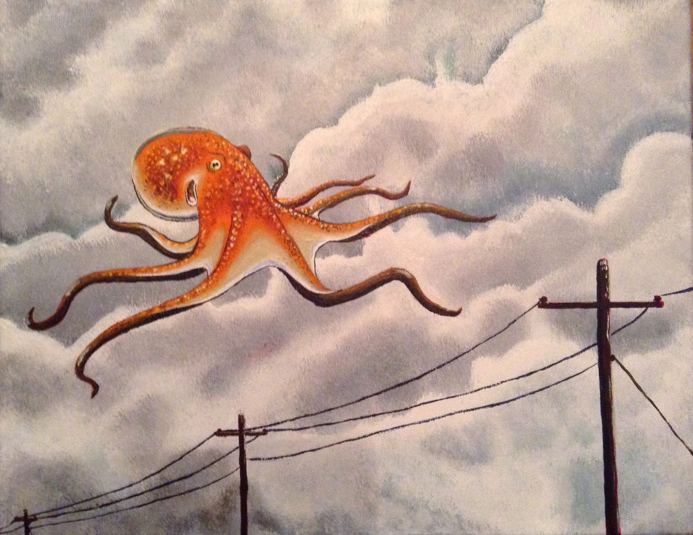 Unidentified Flying Octopus / acrylic, 11x14in / $200