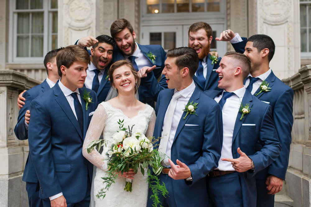 bride and groom and groomsman