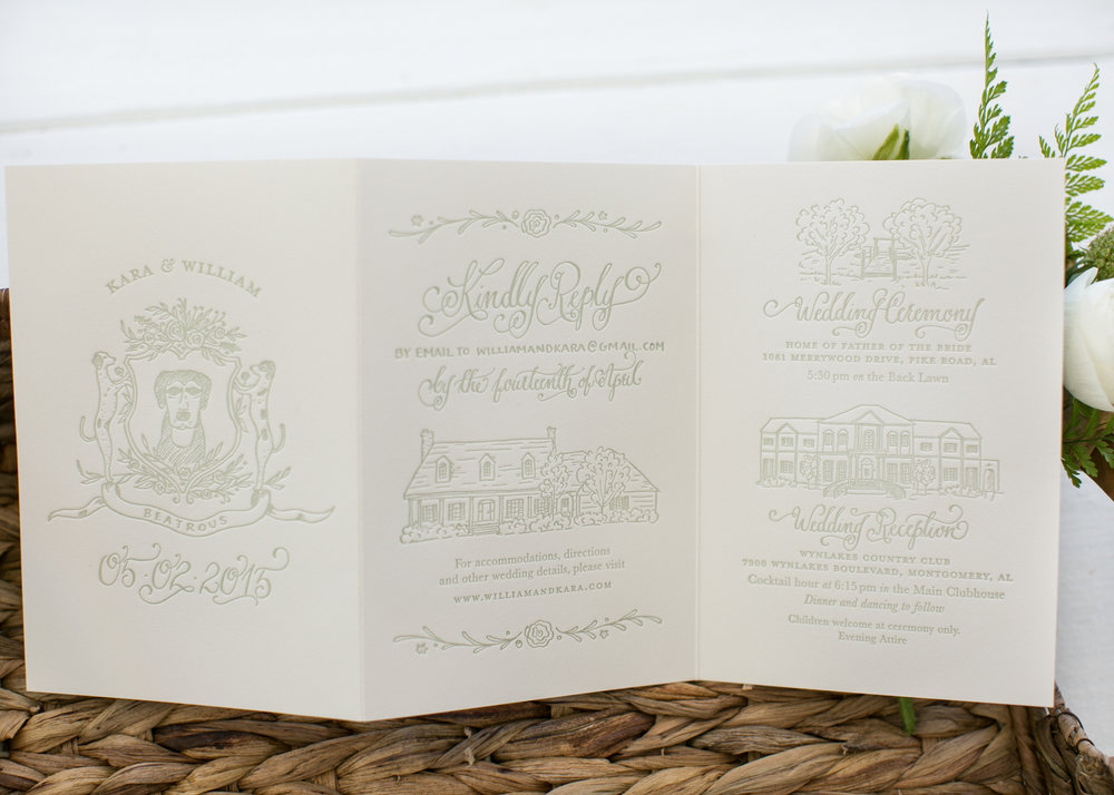 trifold hand-lettered calligraphy wedding invitations