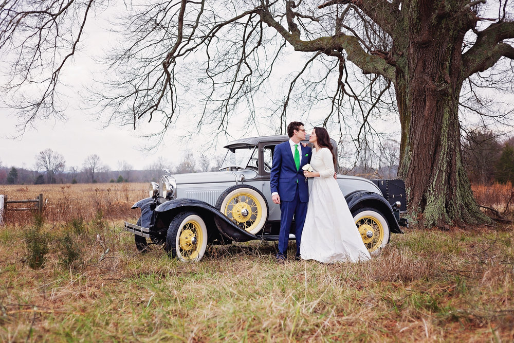 bride and groom antique car portrait