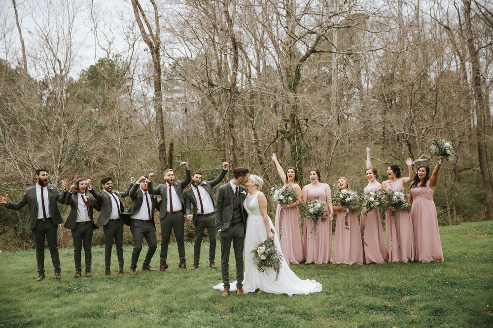 wedding bridal party excitement